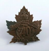 40th Overseas Battalion Canadian Expeditionary Forces Collar Badge Nova Scotia