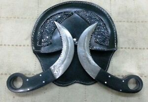 "Custom made Damascus ""RAID2 Mini Silat"" Karambit Pair"