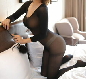 Women Transparent Body Stockings Cosplay Solid Tights Underwear 86101