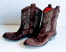 Beverly Feldman 1947 ALL LEATHER COW BOY Rhinestone brown suede Boots size 7B