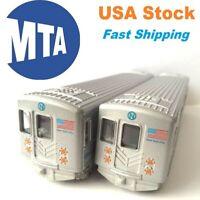 "Set of 2, New York City MTA Metro Subway Rail Train, Diecast Model, Pullback, 7"""