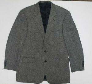 John Ashford Lambs/Merino Wool Herringbone Tweed 42L Sports Coat Gray