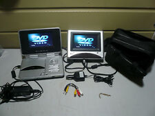 "Durabrand PVS 1966 Dual 6.25"" Monitor 2 Screens Portable Car DVD CD Player &Case"