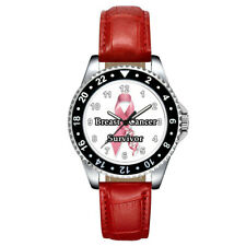 Breast Cancer Survivor Pink Ribbon Unisex Mens Womens Leather Strap Wrist Watch