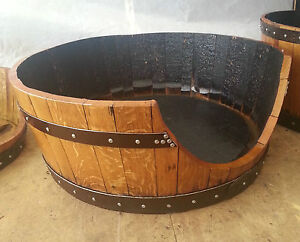 Solid Wooden Oak Recycled Whisky Barrel Dog Bed | Cat Bed with Zanzibar Cushion