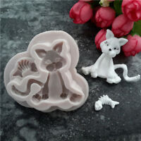 3D Cat Silicone Chocolate Fondant Sugarcraft Mold Cake Decorating Baking Mold QK