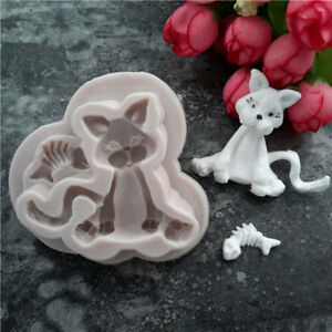 Animal Cat Kitten Silicone Mould Chocolate Cake Baking Topper Icing SG