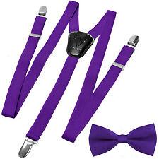 New Y back Kid's Boy's Suspender adjustable strap clip on & bowtie purple