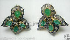 2.15cts ROSE CUT DIAMOND EMERALD VICTORIAN LOOK 925 SILVER STUDS EARRING