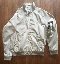 Men Woolrich Khaki/Beige Bomber Coat Harrington Size Medium Jacket Plaid Lining