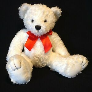 First & Main Plush Bear Tucker White Red Bow #1735 Rough Coat Teddy Weighted