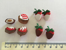 Chocolate dipped strawberries and sweets  Novelty Dress It Up Buttons 8141