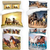 UK Made 3D Duvet Quilt Cover With Pillowcases New Horses Design Digital Print