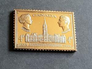 CANADA-GEORGE 6th-1948-4c GOVT-925 STERLING SILVER+GOLD PLATED STAMP INGOT-18g