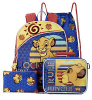 Disney Lion King Simba Backpack Lunch Kit Tote School Book Bag 5 Pc Set Case