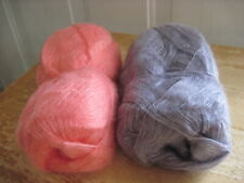 2 part skeins Patons lace yarn - lilac coral - discontinued - mohair mix yarn