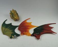 LEGO FIGURINE DRAGON 3x ailes de vert rouge or jaune tête Legends Chima