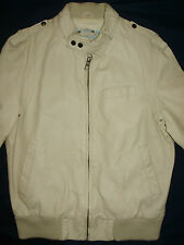 GIUBBINO GIACCA IN PELLE RIVER ISLAND COL. PANNA Sz. M - CREAM LEATHER JACKET M