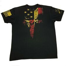Grunt Style Black Classic American Flag Skull Graphic T-Shirt Mens Large L