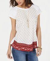 Style & Co. Womens Blouse Scoop Neck Short Sleeve Bandana Print White M New