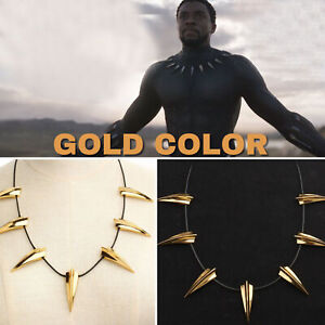 US! Black Panther GOLD Metal Necklace Wakanda King T'Challa Cosplay CostumeJewel