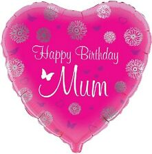 "Ideale Festa Decorazione Happy Birthday Mum 18"" a forma di CUORE FOIL BALLOON"