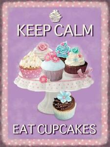 KEEP CALM AND EAT CUPCAKES Vintage Retro Metal Sign KITCHEN HOME COFFEE TEA SHOP