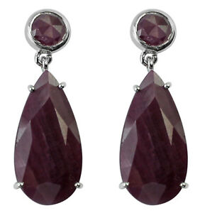 Lovely Indian Ruby Gemstone Jewelry Round 22.19 Ct. 10k White Gold Earrings