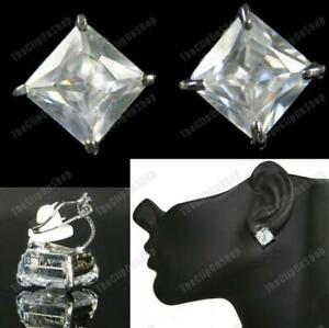 CLIP ON cz BIG 10mm SQUARE CUBIC ZIRCONIA EARRINGS 1cm princess cut silver tone