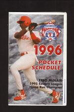 Reading Phillies--1996 Pocket Schedule--Yuengling Beer