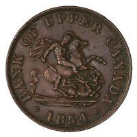 Raw 1854 Bank Of Upper Canada Half Penny Token