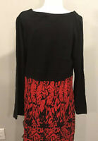 NWT Madison Leigh Dress Red Black Knit  Size XL