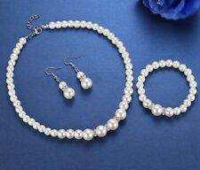 Beautiful Ivory Colour Pearl Necklace Earrings Bracelet Set, Bridal, Wedding
