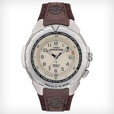 Timex T47902, Men's Expedition Leather Watch, Easy-Set Alarm, Indiglo, Date