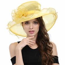 5b7965c472754 Elegant Kentucky Derby Floppy Ruffle Organza Pleated Flowers Church Hat  Purple