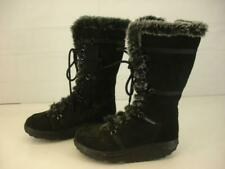Womens 8 M Skechers Elasticity Shape-Ups Black Suede Leather Faux Fur Boots Tall