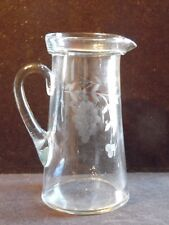 Vintage Etched Clear Glass Grape Design Drink Pitcher Holds 8 Cups