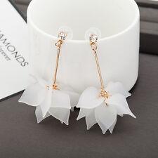 Long Dangle Stud White Earrings Jewelry Elegant Womens Crystal Flower Ear Drop