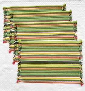 Pier 1 Striped Fringe Cotton Placemats Set of 4 Green Brick Red Yellow White