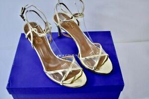 Aquazzura Gold leather Open Toe Women's Shoes Size 38 -7.5M On Sale nt