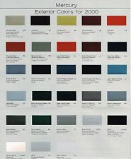 2000 Mercury COLOR CHART Chip Paint Brochure:MOUNTAINEER,MARQUIS,SABLE,COUGAR,