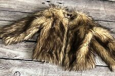 Adorable Cachcach Size 6 Faux Fur Brown Cream Lined Fluffy Fall Winter Coat