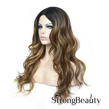 Long Curly Wave Wig Ombre Blonde with Dark Highlights With Dark Root Wigs