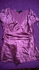 Fabulous pruple silk top V neck size S work formal wear VGC