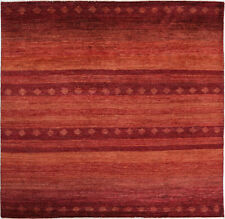 8X8 Hand-Knotted Gabbeh Carpet Tribal Rust Fine Wool Square Rug D33002