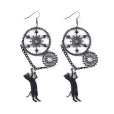 Funny Vintage Acrylic Punk Black Long Dangle Creative Steampunk Cat Earrings