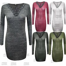 Viscose V-Neck Long Sleeve Mini Dresses for Women