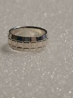 Vintage Milor Sterling Silver Ring Diamond Cut Wide Band Italy Sz 6