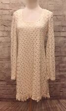 c26bed2ed8 NEW Charlotte Russe Boho Crochet Knit Lace Dress Size S Cream Ivory Long  Sleeve