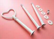 Cake stand fittings, x1 set white heart design for 3 tier stand with fixings New